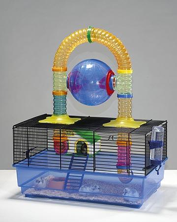 клетка для хомяка с наружным лабиринтом и беговым шаром