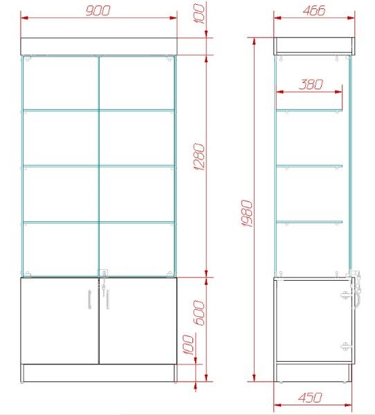 Чертеж витрины для изготовления своими руками